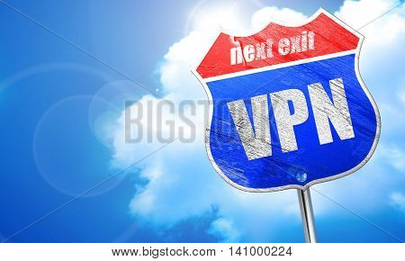 vpn, 3D rendering, blue street sign