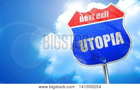 utopia, 3D rendering, blue street sign