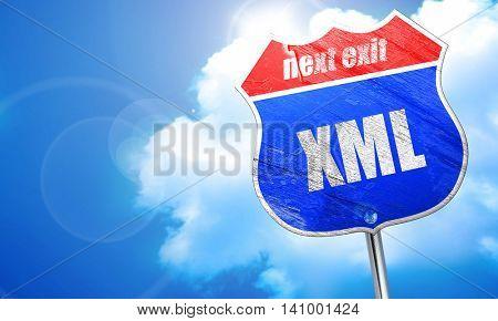xml, 3D rendering, blue street sign