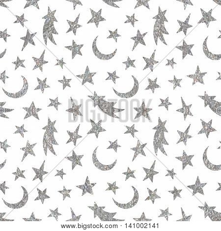 Silver textured cosmic seamless pattern of the star, moon and comet on white background.