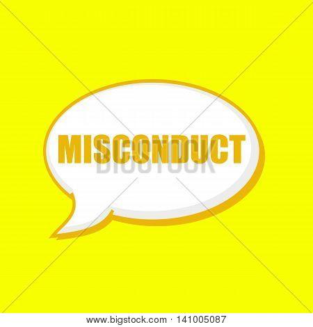 MISCONDUCT orange wording on Speech bubbles Background Yellow