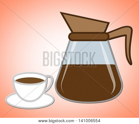 Coffee Pot Represents Coffeemaker Carafe And Coffeepot