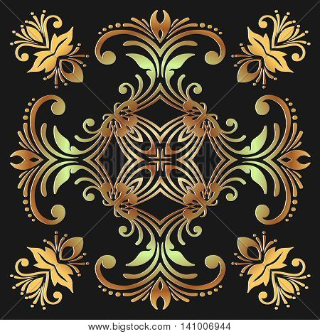 abstract embossed decoration green yellow color on a dark background