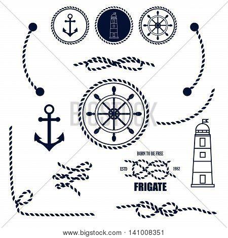 Nautical and marine icons. Vector sign anchor ocean ship, graphic element nautical symbols. Vintage retro marine emblem, label nautical symbols. Travel sea stamp sailing rope symbols.