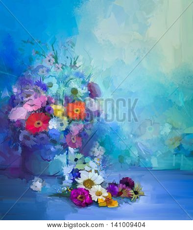 Oil painting flowers in vase. Hand paint still life bouquet of White, Yellow and Orange Sunflower, Gerbera, Daisy flowers. Vintage flowers painting in soft green blue and purple color background.