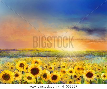 Sunflower flower blossom. Oil painting of a rural sunset landscape with golden sunflower field. Warm light of the sunset and hill color in orange and blue color at the background