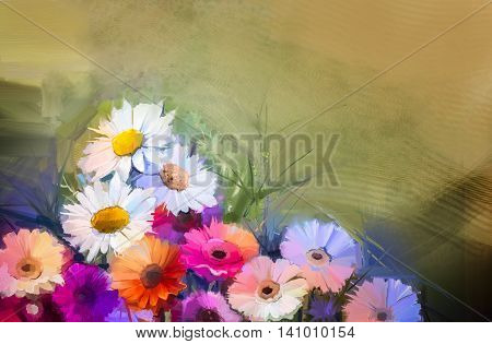 Oil painting flowers. Hand paint still life bouquet of White, Yellow and Orange Sunflower Gerbera Daisy flowers. Vintage flowers painting in soft yellow brown color background.
