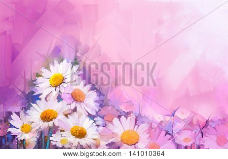 Oil painting flowers. Hand paint still life bouquet of White Gerbera Daisy flowers. Vintage flowers painting in soft red and purple color background.