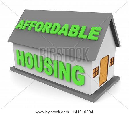 Affordable Housing Indicates Cut Price And Apartment 3D Rendering