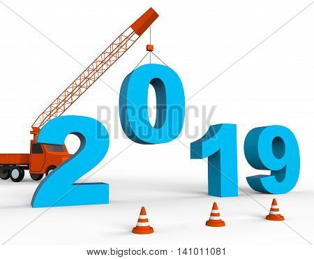 Twenty Nineteen Represents New Year And Annual 3D Rendering