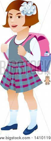 Schoolgirl with backpack on a white background.