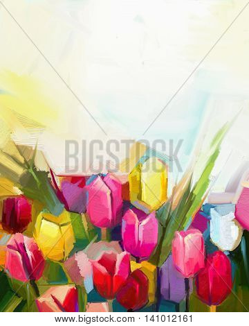 Oil painting tulip flower field . Hand painted white yellow red flowers in soft color with light yellow background. Abstract floral paintings in the meadows. Spring flower seasonal nature background