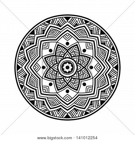 beautifull black simple floral orient mandala on white background, round shape, vector illustration