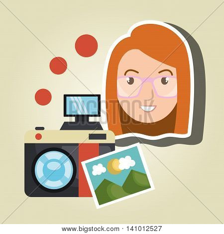 woman photo camera graphic vector illustration eps 10