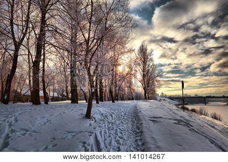 winter sunset in Vitebsk