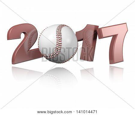 Baseball 2017 3D illustration design with a white Background