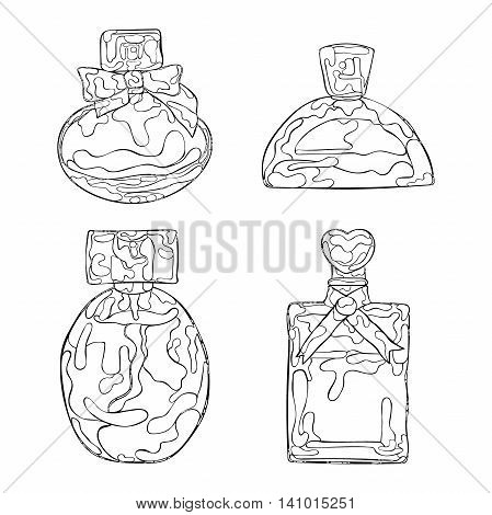Perfumery. Beautiful vials. Isolated vector objects on white background.