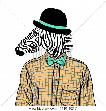 Hand Drawn Fashion Illustration of dressed up zebra, in colors. Vector EPS