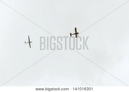 Airplane Towing Glider In Sky