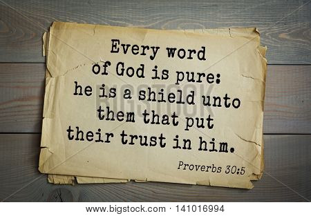 Top 500 Bible verses. Every word of God is pure: he is a shield unto them that put their trust in him.Proverbs 30:5