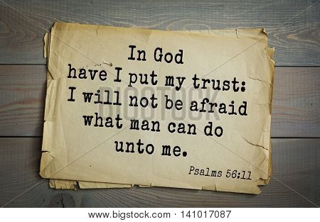 Top 500 Bible verses. In God have I put my trust: I will not be afraid what man can do unto me. Psalms 56:11