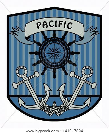 Nautical label with the word Pacific written inside, vector illustration