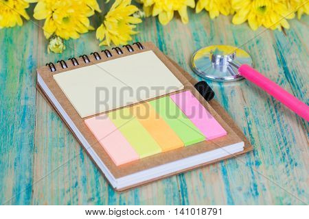 Blank mock up note book   and heart shape