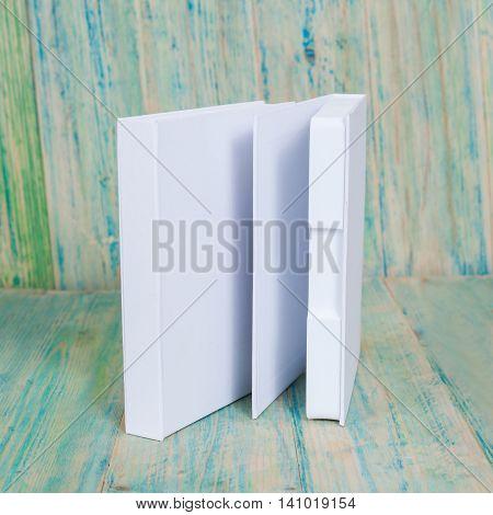 Blank white box mock up on wood