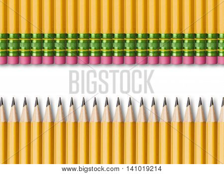 Row of yellow pencils isolated on white background