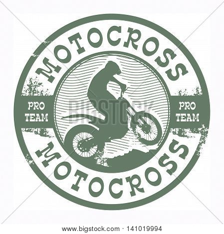 Motocross grunge abstract team stamp, vector illustration