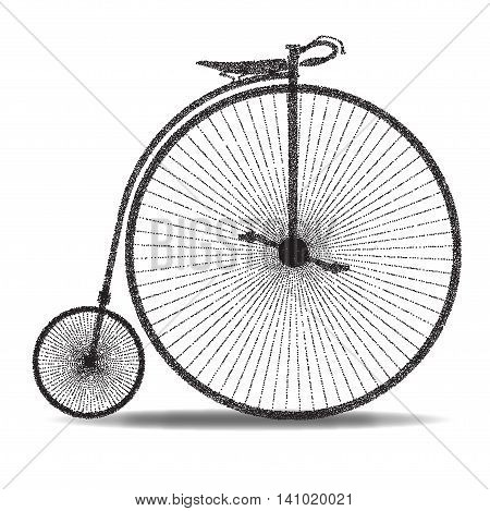 A typical penny farthing bicycle over a white background.