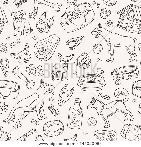 Dog and accessories black line vector pattern