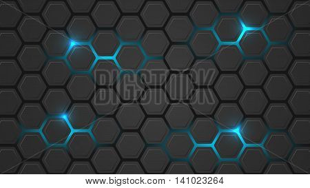 Dark vector illustration with a hexagonal pattern and blue backlight. Design for your pc desktop or other uses.