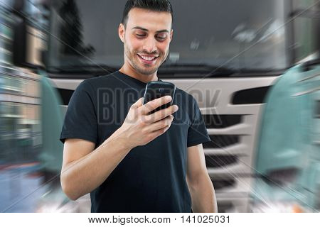 Distracted man going to be hit by a truck while using his cellphone
