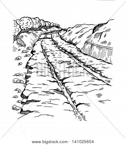 Preceded track, diolkos near Corinth in Ancient Greece. Ancient landmark. The road 6 km long, with deep grooves. They placed a wooden runners greased