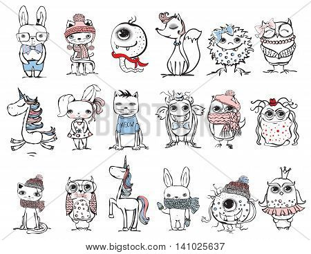 Set of different cute animals: bear, rabbit, cat, owl, unicorn and monster.