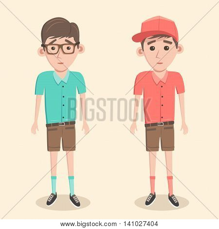 Fun boys. Boy with glasses and in a baseball cap. Cartoon vector illustration. Schoolboys. Friendly children