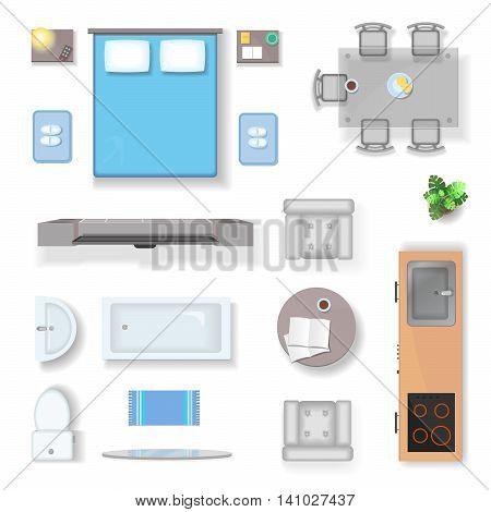 Apartment top view, living room bedroom and bathroom furniture design elements realistic isolated vector illustration