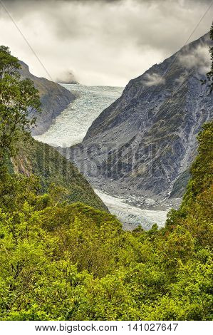 Fox Glacier after a thunderstorm South Island New Zealand