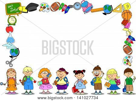 Cute Shcool frame with children, vector illustration