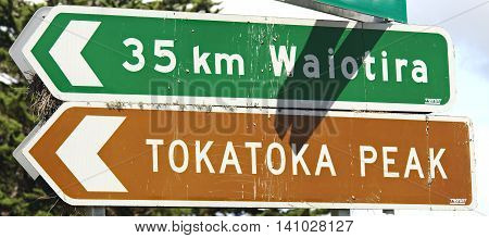 Signpost indicating direction to Tokatoka Peak North Island New Zealand