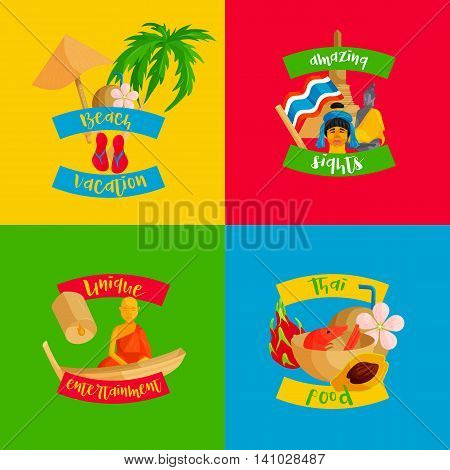 Thailand banners set in flat style. Cards with traditional symbols of Thailand set collection vector illustration