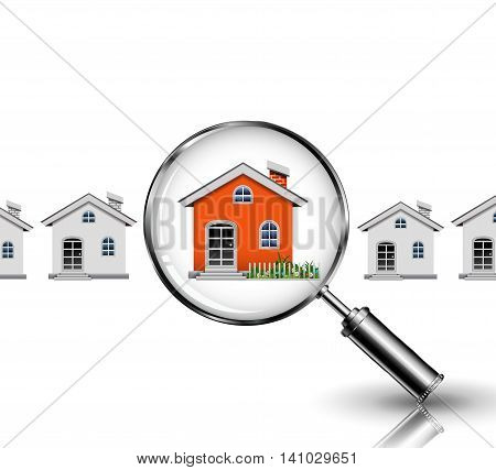 cute magnifying glass with your dream house