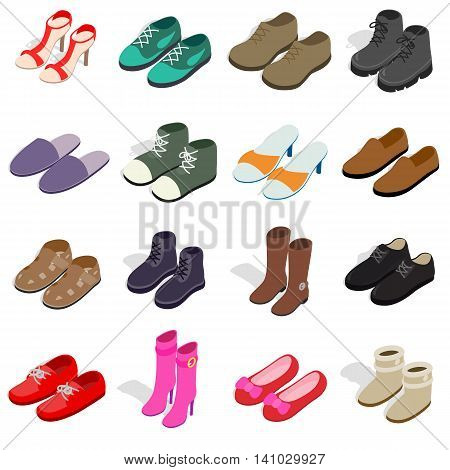 Shoe icons set in isometric 3d style. Men and women shoes set collection vector illustration