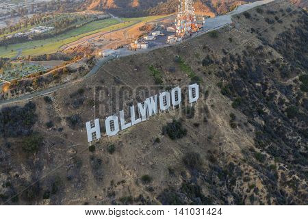 Los Angeles, California, USA - July 21, 2016:  Late afternoon aerial of the Hollywood Sign in Griffith Park.