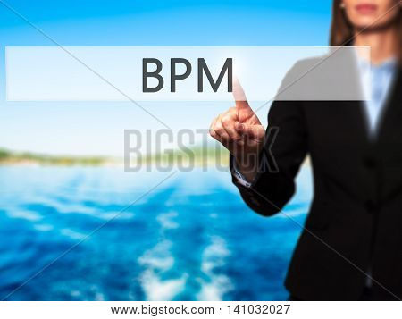 Bpm (business Process Management) - Businesswoman Pressing Modern  Buttons On A Virtual Screen