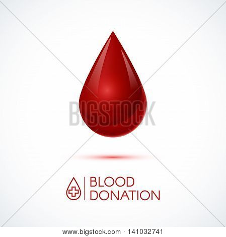 Blood drop.  Blood donation concept  vector illustration. Drop of blood isolated on white background
