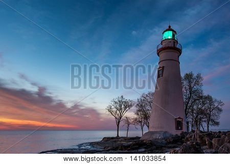 Marblehead Lighthouse at Sunrise with Light On