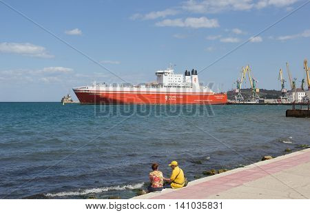 CRIMEA, FEODOSIA JUNE 11, 2014: Car ferry service between Krasnodar region and the Crimea