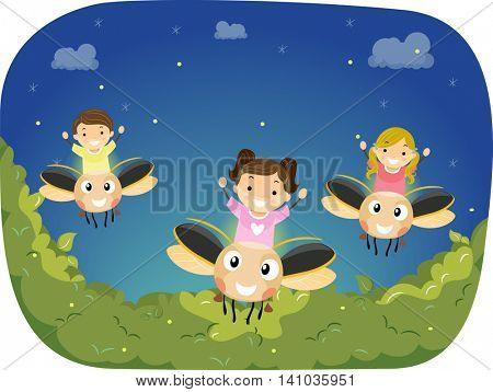 Stickman Illustration of Children Riding Giant Fireflies